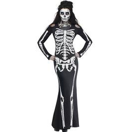 Ladies Long Black Skeleton Print Dress Halloween Fancy Dress Costume O/S