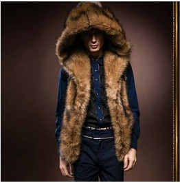 Winter Hooded Fur Vest Men's Top