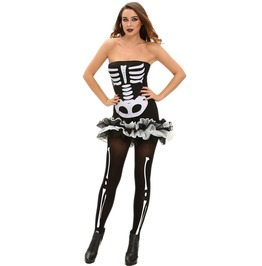 Ladies Skeleton Bones Print Tutu Mini Dress Costume Fancy Dress O/S