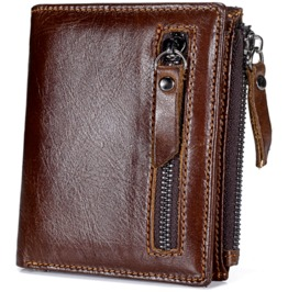 Men's Vintage Genuine Leather Brown Short Wallet Card Holder