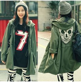 Skull Trench Coat Outerwear Autumn Womens