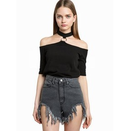 Sexy Metal Ring Collar Strapless T Shirt T20