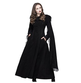 Women's Long Black Cape Hooded Coat
