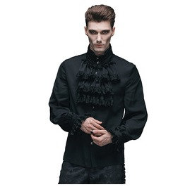 Men's Gothic Ruffled Black Shirt