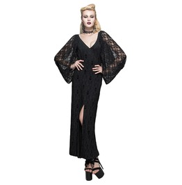 Women's Black Lace Skull Print Long Dress