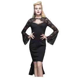 Women's Black Lace Tail Long Sleeve Dress