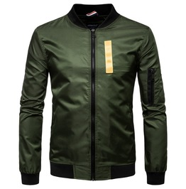 Men's Zipper Contrast Bomber Jacket