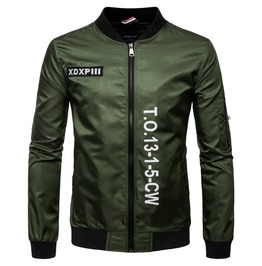 Men's Letter Embroideried Stand Collar Bomber Jacket
