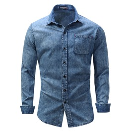 Men's Classic Long Sleeve Pocket Denim Shirt