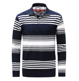 Men's Stripe Printed Slim Fitted Colorblock Polo Shirt