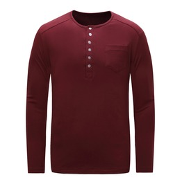 Men's Button Slim Fitted Long Sleeve T Shirt
