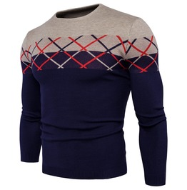 Men's Plaid Contrast O Neck Knit Sweater