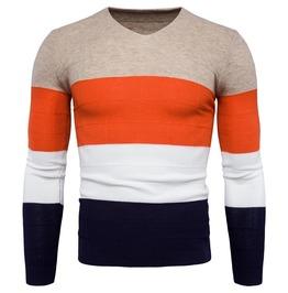 Men's V Neck Contrast Slim Fitted Knit Sweater
