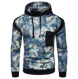 Men's Printed Contrast Pocket Slim Fitted Hoodies