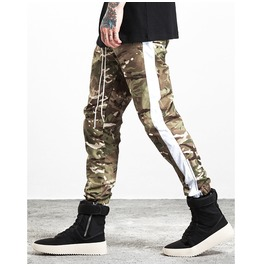 Men's Camouflage Contrast Stripe Drawstring Jogger Pants