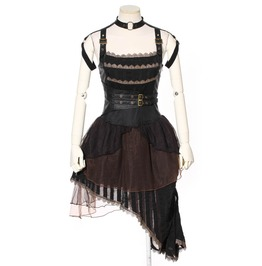 Rq Bl Women's Gothic Steampunk Vintage Buckle Cropped Chiffon Dress Sp146