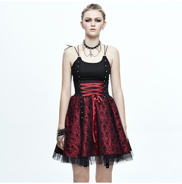 Devil Fashion Women's Punk Rock Skull Printed Lace Up Flare Dress Skt052