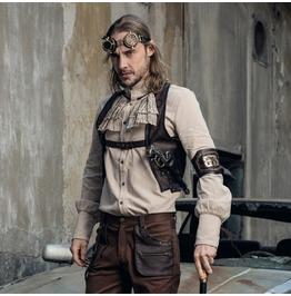 Rq Bl Men's Steampunk Bullet Gear Faux Leather Buckle Vest 033
