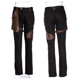 Rq Bl Men's Steampunk Slim Fitted Pockets Buckles Pants 026