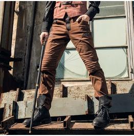 Rq Bl Men's Punk Rock Ruched Slim Fitted Colorblock Pants 020