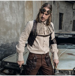 Rq Bl Men's Steampunk Stand Collar Lace Up Cuff Shirt 008