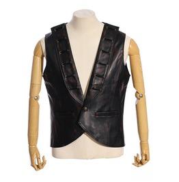 Rq Bl Men's Steampunk Ladder Faux Leather Vest 018