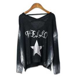 Women's Punk Hello Star Printed Loose Backless Knit Sweater