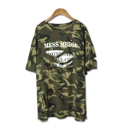 Women's Punk Distressed Camouflage Loose T Shirt