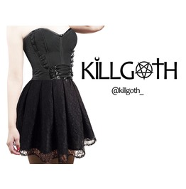 Black Gothic Dress, 2 Pieces, Nu Goth Dress, Pastel Goth Dress,