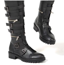 Three Stage Separable Belted Long Biker Leather Boots 390