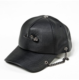 Safety Pin Chain Accent Black Leather Cap