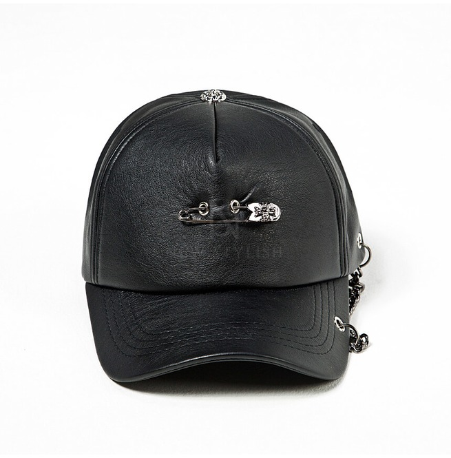 rebelsmarket_safety_pin_chain_accent_black_leather_cap_hat_18_hats_and_caps_7.jpg