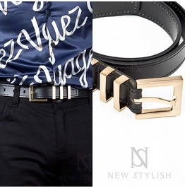 Triple Gold Metal Buckle Leather Belt 66