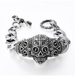Men's Biker Skull Cuff Bangle Bracelet