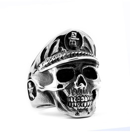 Men's Skull Simulated Silver Gothic Ring