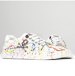 Skull White Splash Low Top Sneakers 392