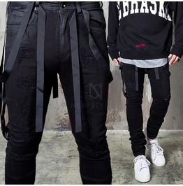 Distressed Webbing Tape Coated Black Jeans 291