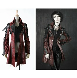 Punk Rave Women's Punk Studded Faux Leather Zipper Red Jacket Y349
