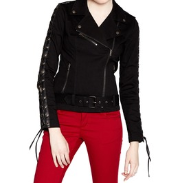 Women Gothic Jacket Tripp Side Lace Moto Faux Leather Jacket