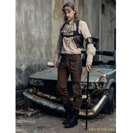 Coffee Industrial Steampunk Man Trousers With Pocket Bag Spm 029 Cf