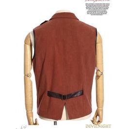 Brown Industrial Steampunk Man Vest Spm 017