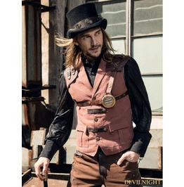 Brown Industrial Steampunk Man Vest Spm 017