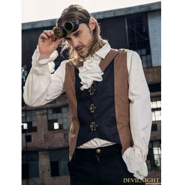 Brown And Black Industrial Steampunk Man Vest Spm 016
