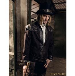 Coffee Industrial Steampunk Jacket For Men Spm 014