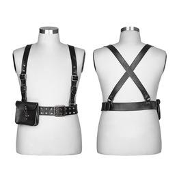 Punk Rave Men's Steampunk Cross Strap Clips Harness Waist Bag S238