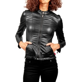 Women Leather Jacket Gothic Style Moto Racer Faux Leather Jacket