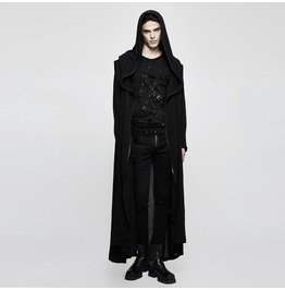 Punk Rave Men's Gothic Zipper Deco Long Coat With Cross On Back Y770
