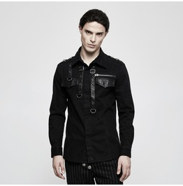 Punk Rave Men's Belted Design Slim Fitted Shirt Y800