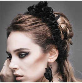 Gothic Black Flower Head Band Women's Accessories