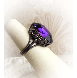 Romantic Purple Oval Swarovski Crystal Ring Gothic Victorian Jewelry